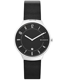Men's Grenen Black Leather Strap Watch 38mm