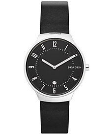 Skagen Men's Grenen Black Leather Strap Watch 38mm