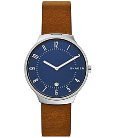 Skagen Men's Grenen Brown Leather Strap Watch 38mm