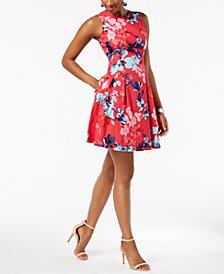 Vince Camuto Floral-Print A-Line Dress