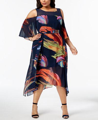 Robbie Bee Plus Size Printed Cold-Shoulder Dress
