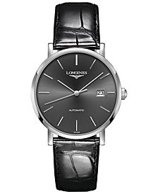Longines Men's Swiss Automatic Elegant Collection Black Alligator Leather Strap Watch 39mm