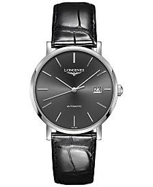 Longines Men's Swiss Automatic Elegant Collection Black Alligator Leather Strap Watch 39mm
