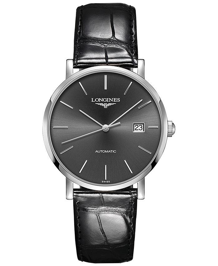 Longines - Men's Swiss Automatic Elegant Collection Black Alligator Leather Strap Watch 39mm