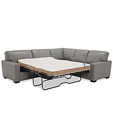 Ennia 2-Pc. Leather Full Sleeper Sectional Sofa, Created for Macy's