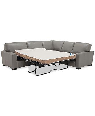 Furniture Ennia 2 Pc Leather Full Sleeper Sectional Sofa Created For Macys