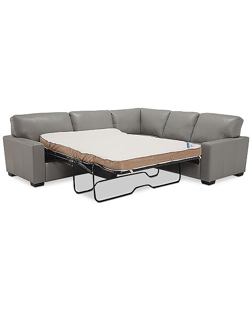 Furniture Ennia 2-Pc. Leather Full Sleeper Sectional Sofa, Created ...
