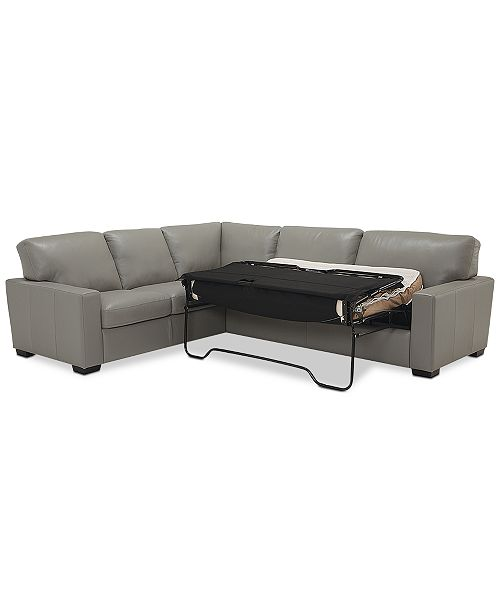 Prime Ennia 2 Pc Leather Full Sleeper Sectional Sofa Created For Macys Machost Co Dining Chair Design Ideas Machostcouk