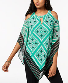 Alfani Cold-Shoulder Asymmetrical-Hem Tunic, Created for Macy's