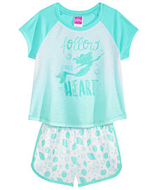 Disney's® The Little Mermaid Little & Big Girls 2-Pc. Pajama Set, Created for Macy's