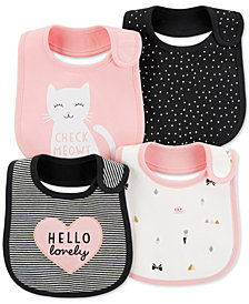 Carter's Baby Girls 4-Pack Graphic-Print Teething Bibs