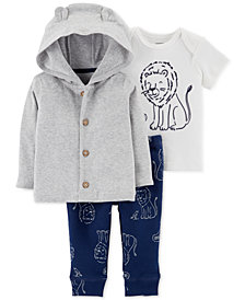 Carter's Baby Boys 3-Pc. Cotton Cardigan, T-Shirt & Pants Set