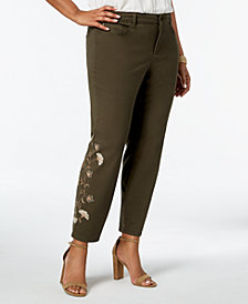Charter Club Plus Size Tummy-Control Embroidered Jeans, Created for Macy's