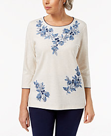 Alfred Dunner Petite Embroidered Top