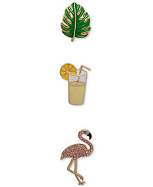 Anne Klein Gold-Tone 3-Pc. Set Pavé Tropical Pins, Created for Macy's