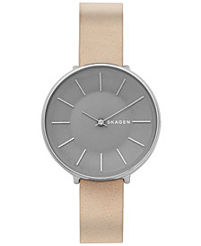 Skagen Women's Karolina Nude Leather Strap Watch 38mm