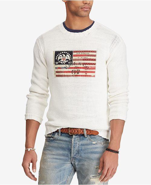 080e203f56e Polo Ralph Lauren Men s Crew-Neck Flag Sweater   Reviews ...