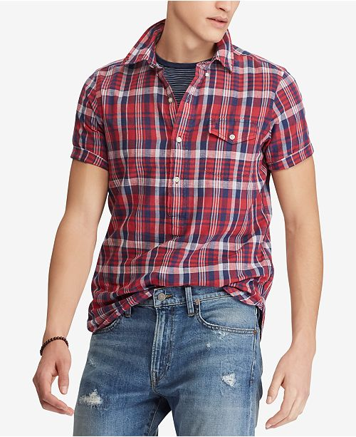 48c806b277 Polo Ralph Lauren Men s Cotton Madras Classic Fit Shirt - Casual ...