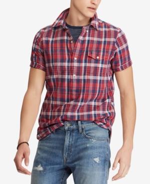 cca705287695 Polo Ralph Lauren Men S Big   Tall Classic Fit Cotton Madras Shirt In  Venetian Red