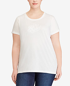 Lauren Ralph Lauren Plus Size Striped Cotton T-Shirt