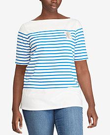 Lauren Ralph Lauren Plus Size Striped Cotton T-Shirt