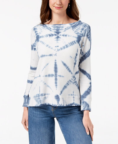 Style & Co Petite Cotton French Terry Tie-Dye Top, Created for Macy's