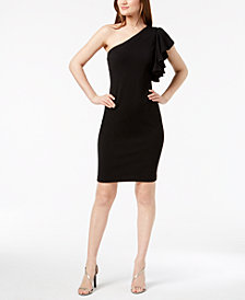 Calvin Klein Ruffled One-Shoulder Sheath Dress