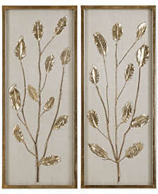 Uttermost Branching Out 2-Pc. Gold-Finish Leaf Panel Set