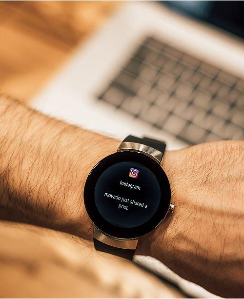 Movado Men S Connect Black Silicone Strap Smart Watch 46 5mm