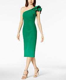 Betsy & Adam One-Shoulder Sheath Dress