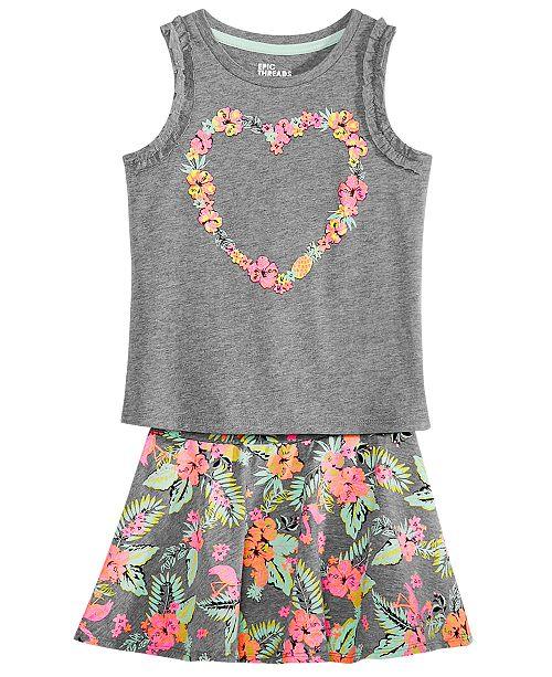Epic Threads Toddler Girls Flower Heart Tank Top & Scooter Skirt, Created for Macy's