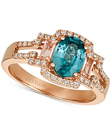 Blueberry Zircon (1-5/8 ct. t.w.) & Diamond (1/4 ct. t.w.) Ring in 14k Rose Gold