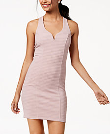 Trixxi Juniors' Ribbed Strappy-Back Bodycon Dress