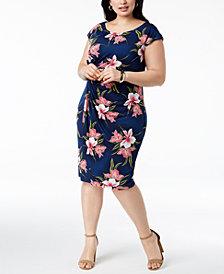 Connected Plus Size Floral-Print Sarong Dress