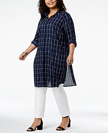 Alfani Plus Size Striped Convertible Tunic Top, Created for Macy's