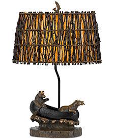 Cal Lighting Bear in Canoe Resin Table Lamp