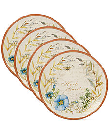 Certified International Herb Blossom Dinner Plates, Set of 4