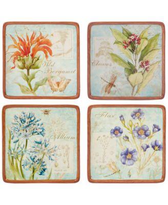 4-Pc. Herb Blossom Canape Plates Set