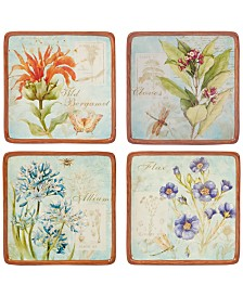 Certified International 4-Pc. Herb Blossom Canape Plates Set