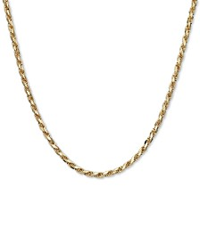 "Italian Gold Rope 22"" Chain Necklace (3-9/10mm) in 14k Gold, Made in Italy"