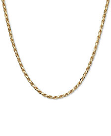 "Italian Gold Men's Rope 22"" Chain Necklace in 14k Gold, Made in Italy"