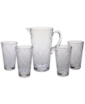 Clear Diamond Acrylic 5-Pc. Drinkware Set