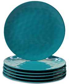 Certified International 6-Pc. Teal Melamine Dinner Plate Set