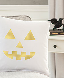 "Cathy's Concepts Gold Metallic-Print Jack O' Lantern 16"" Square Decorative Pillow"