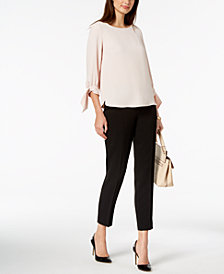 Nine West Tie-Sleeve Top & Ankle Pants