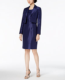 Le Suit Shiny Kiss-Front Jacket & Dress, Regular & Petite