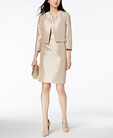 Le Suit Shiny Flyaway Jacket & Sheath Dress
