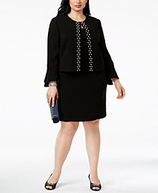 Tahari ASL Plus Size Embellished Dress Suit