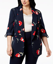 Nine West Plus Size Floral-Print Blazer