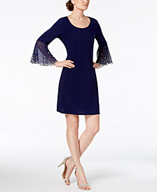 MSK Faux-Pearl Bell-Sleeve Dress